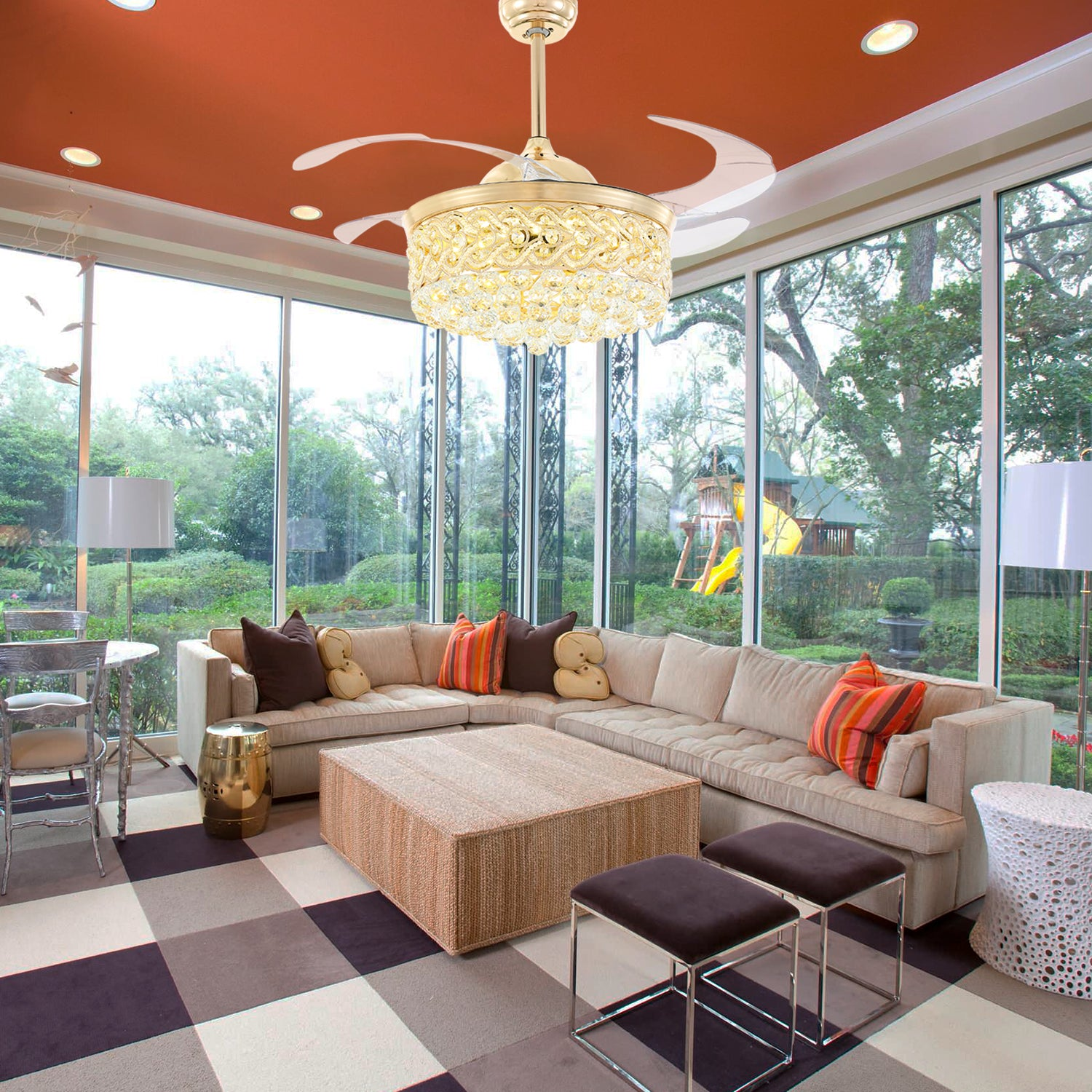 Retractable Crystal Ceiling Fan With Gold Finish - Living Room