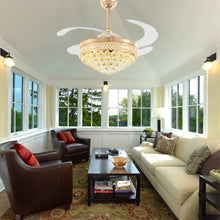 Gold Crystal Ceiling Fan - Living Room