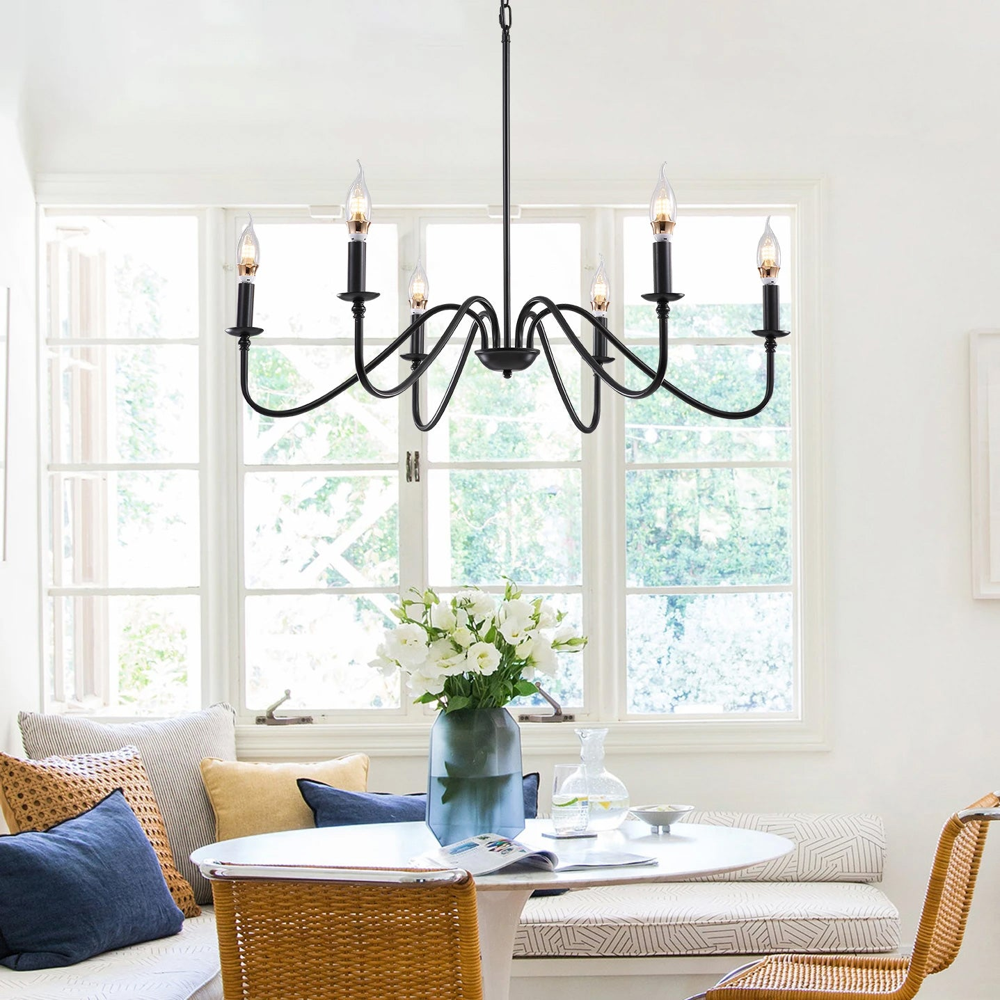 Modern Farmhouse Black Metal Candle Chandelier
