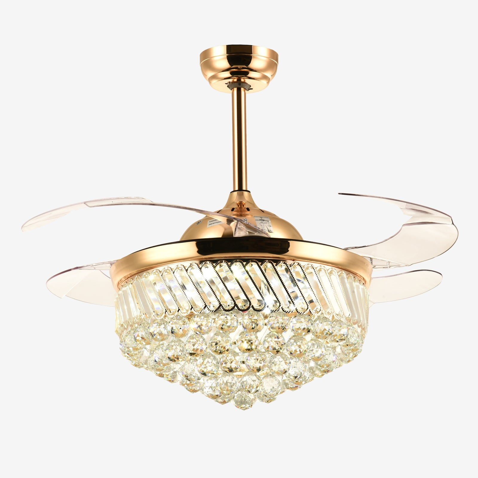Crystal Ceiling Fan With Blades Extended