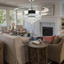 Crystal Ceiling Fan With Retractable Blades-Living Room