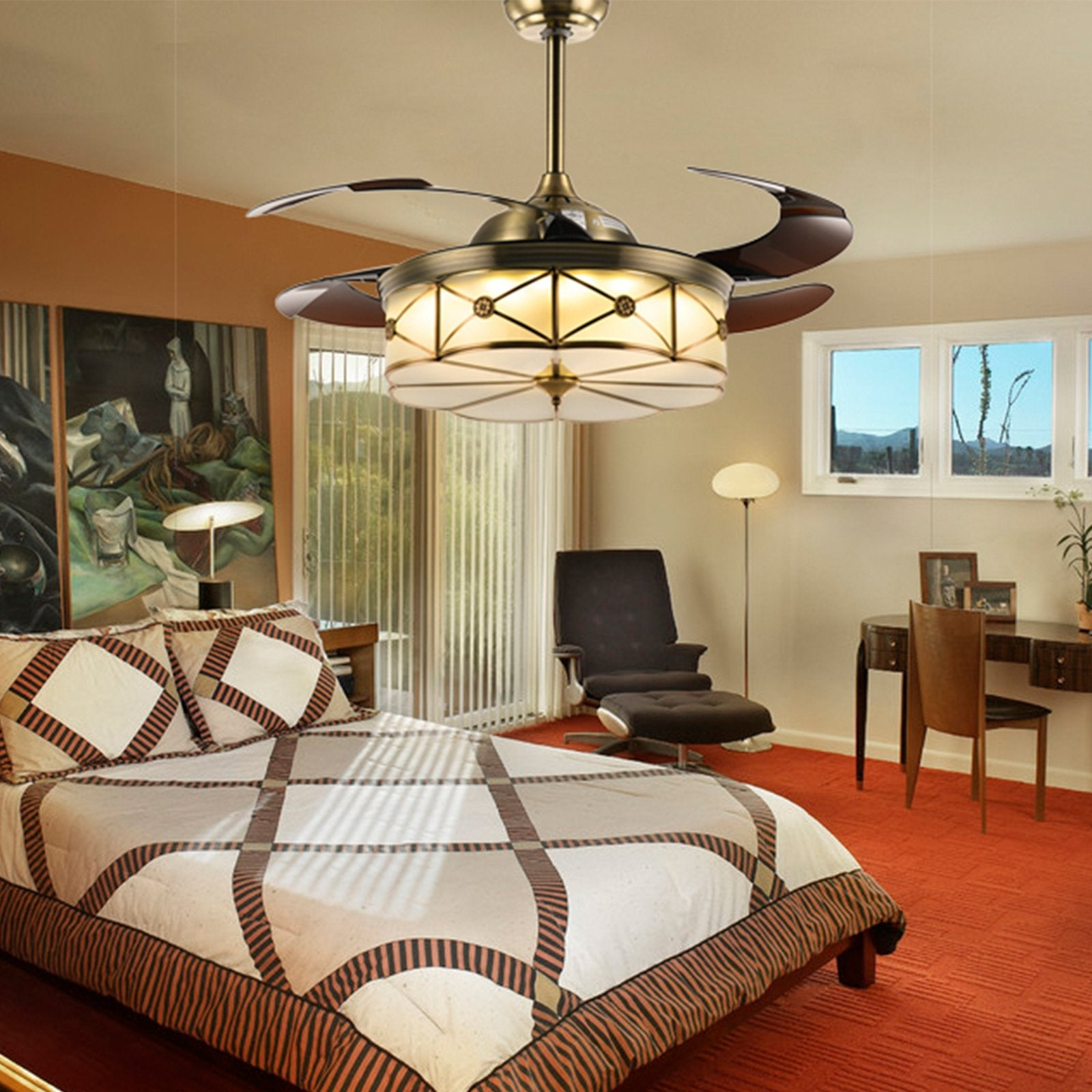 Retractable Ceiling Fans With Bronze Finished - Bedroom