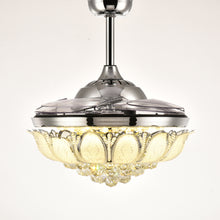 Polished Crystal Ceiling Fan With Blades Retracted