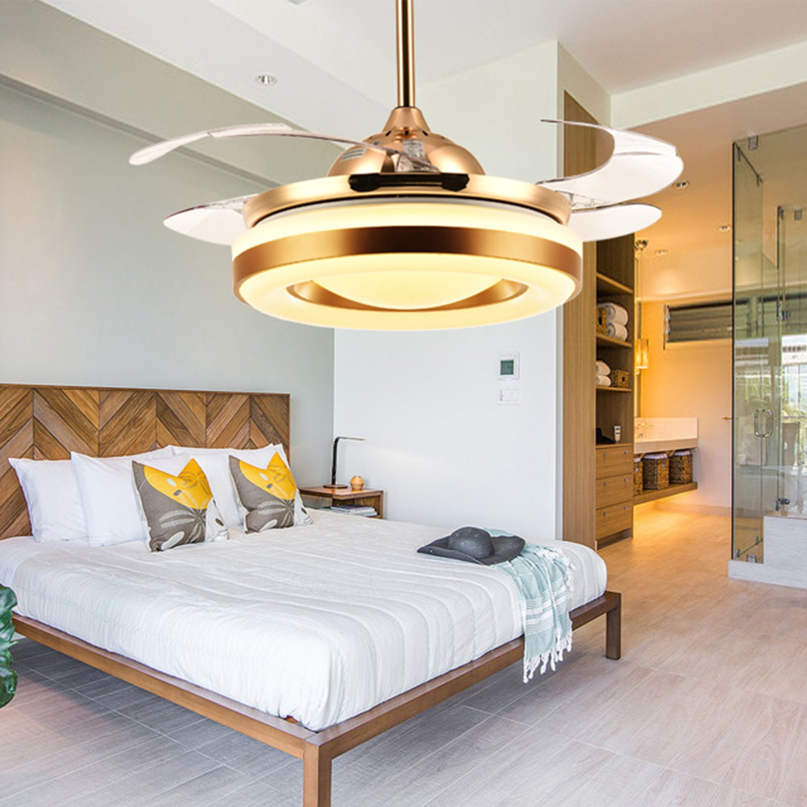 Ceiling Fan With Golden Lighting Design Bedroom