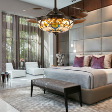 Brown Ceiling Fan Chandelier Light - Bedroom