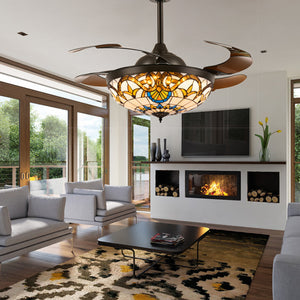 Brown Crystal Ceiling Fan Chandelier Light Living Room
