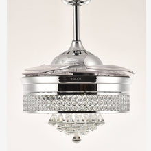 Crystal Ceiling Fan With Retractable Blades