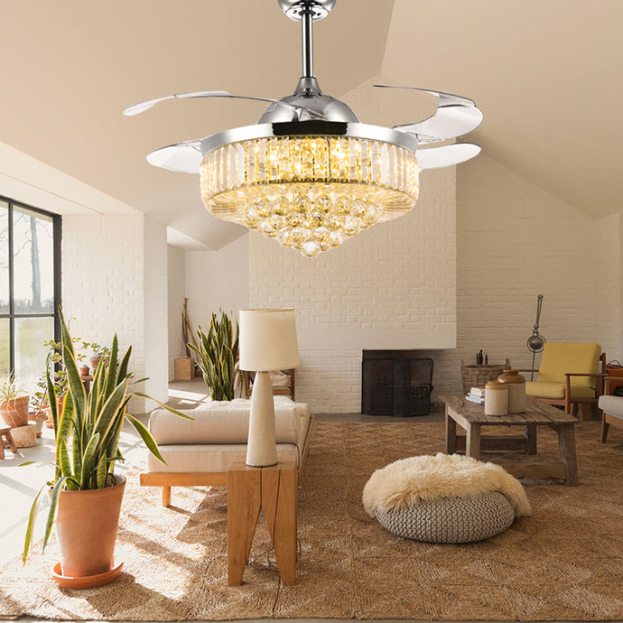 Retractable Ceiling Fan - Chandelier Ceiling Fan - Living Room