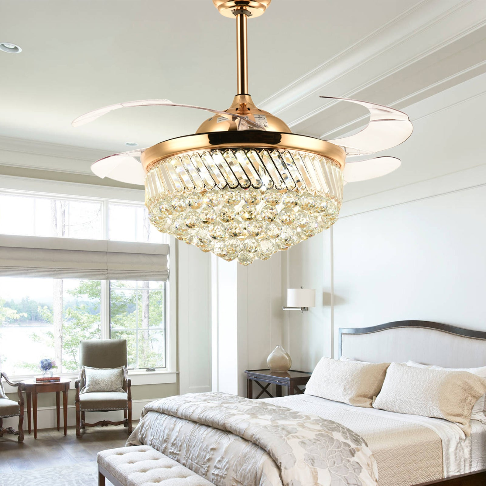 Crystal Ceiling Fan With Retractable Blades   Bedroom