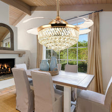 Crystal Ceiling Fan With Retractable Blades - Dining Room