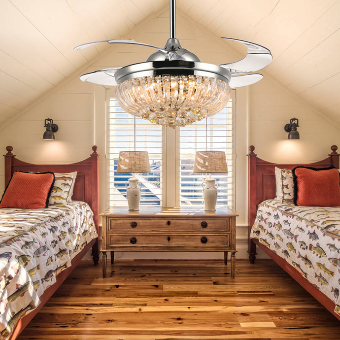 Retractable Ceiling Fan With Crystal Lights Bedroom