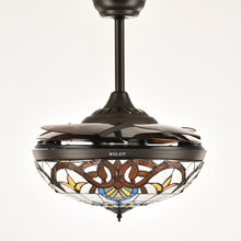 Brown Ceiling Fan Chandelier Light With Blades Retracted