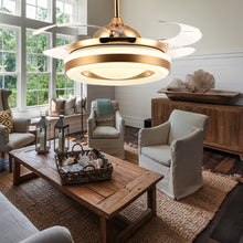 Ceiling Fan With Golden Lighting Design - Living Room