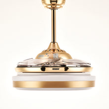 Ceiling Fan With Golden Lighting Design With Blades Retracted