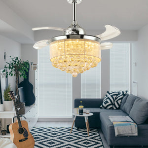 Ceiling Fan, Crystal With Retractable Blades