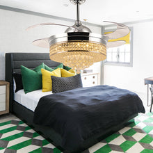Crystal Ceiling Fan With Retractable Blades-Bedroom