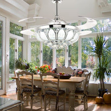 Polished Crystal Ceiling Fan - Dinning Room
