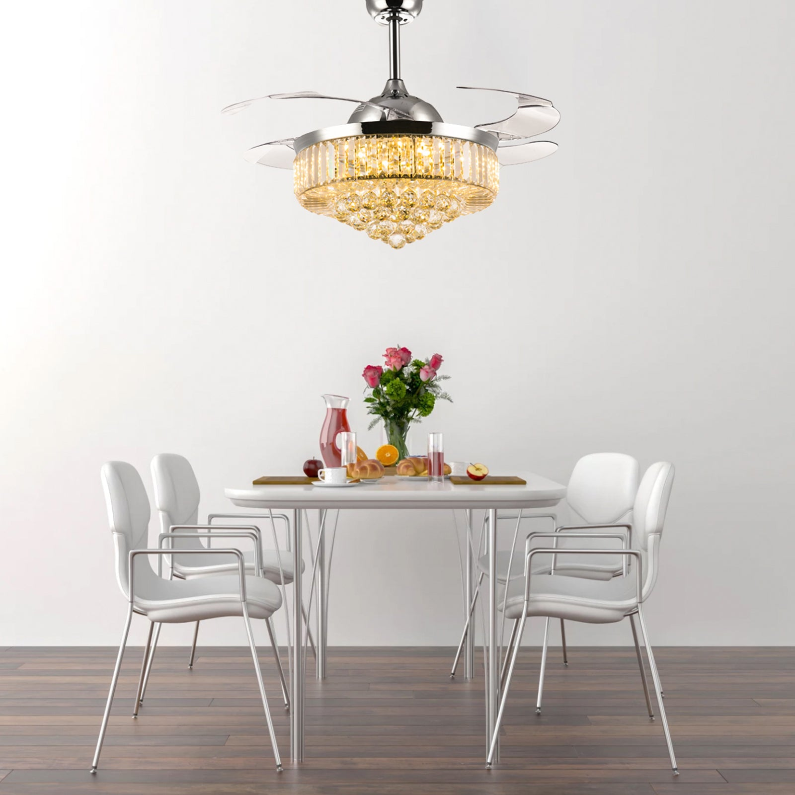 Elegant Retractable Ceiling Fan   Chandelier Ceiling Fan   Dining Room