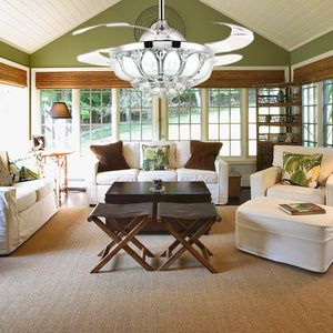 Silver Crystal Ceiling Fan With Retractable Blades Living Room