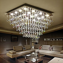 Rectangular Multi-layer Flush Mount Raindrop Crystal Chandelier Living Room