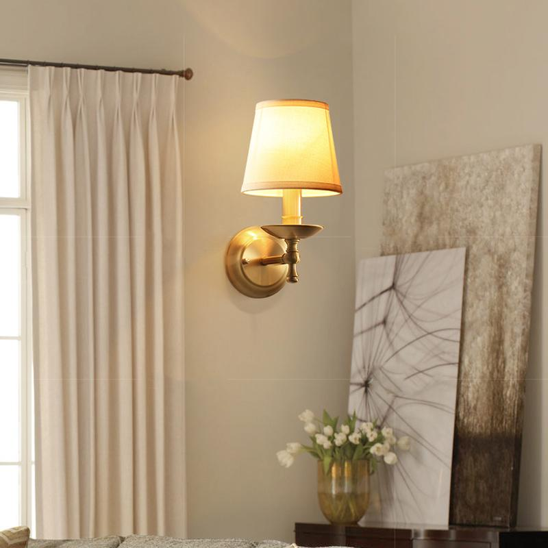 Wall Lamp Brass Finish With Shades At Living Room