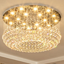 Petal Shape Raindrop Crystal Chandelier with Round Base  with light on