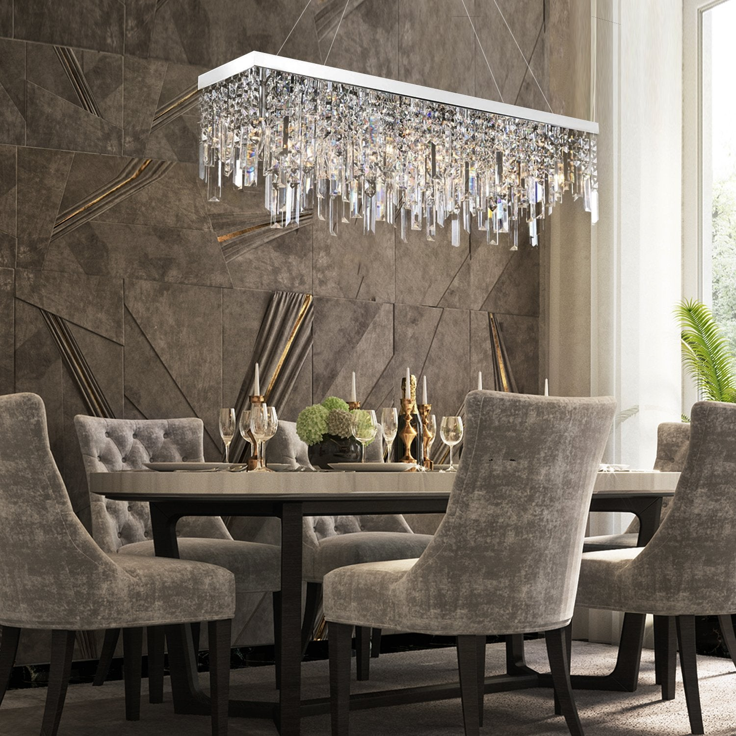 Rectangle Crystal Chandelier Modern Lighting With Linear Design
