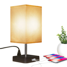 Modern Square Bedside Lamp With 3 USB Fast Charging Port