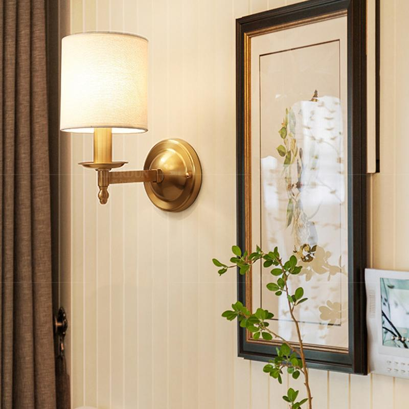 Brass Finish With Shades Wall Lamp At Living Room