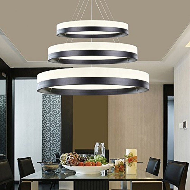 Dinning Room Three Ring Pendant Light Fixture - Dining Room