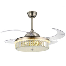 Modern Design Ceiling Fan With Nickel Finish With Blades Extended Warm Light