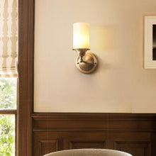 Wall Lamp Brass Finish With Glass Shades At Bedroom