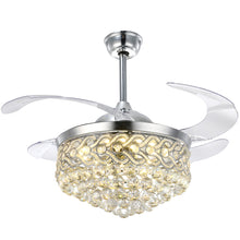 Modern Design Crystal Retractable Ceiling Fan Warm Light
