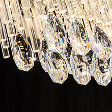 Rectangular Crystal Chandelier with Frosted Crystal Rods - details