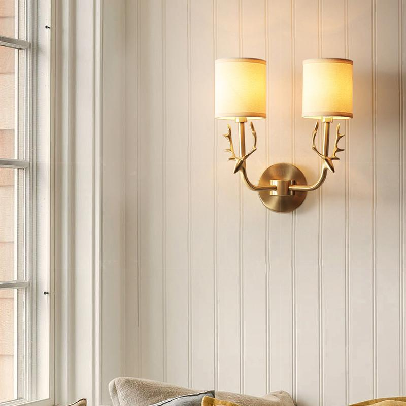 Deer Head Wall Lamp Brass Finish With Shades At Living Room