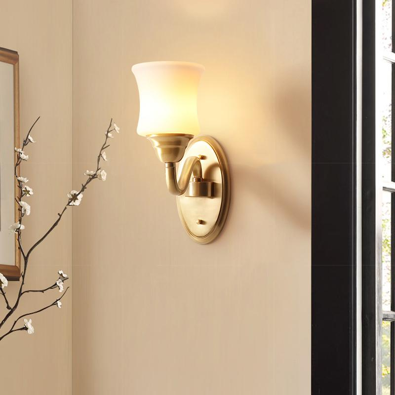 Wall Lamp Brass Finish With Glass Shades At Living Room
