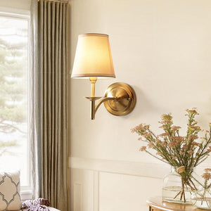 Brass Wall Lamp With Shades At Living Room