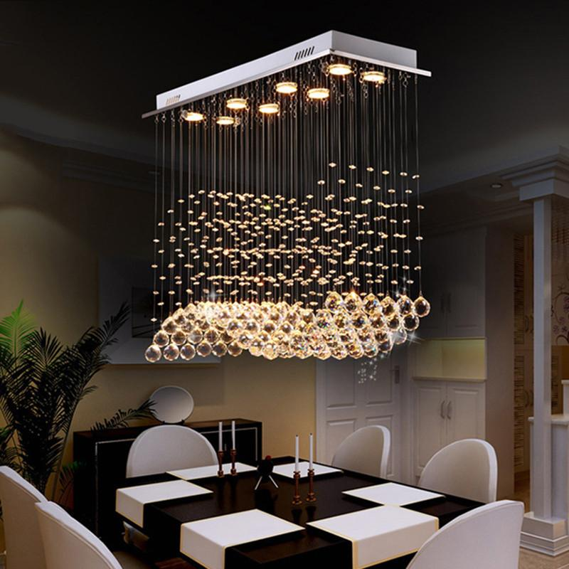 Rectangle Raindrop Wave Crystal Chandelier Ceiling Light Dinning Room