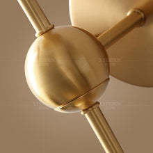 Brass Wall Lamp With Hooded Clear Globe Details