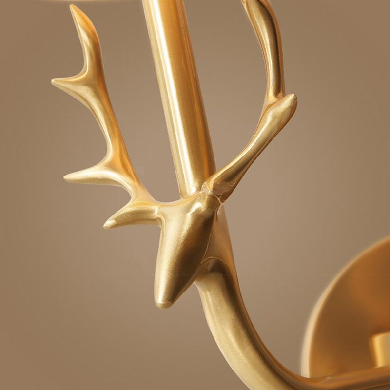 Deer Head Wall Lamp Brass Finish With Shades Details