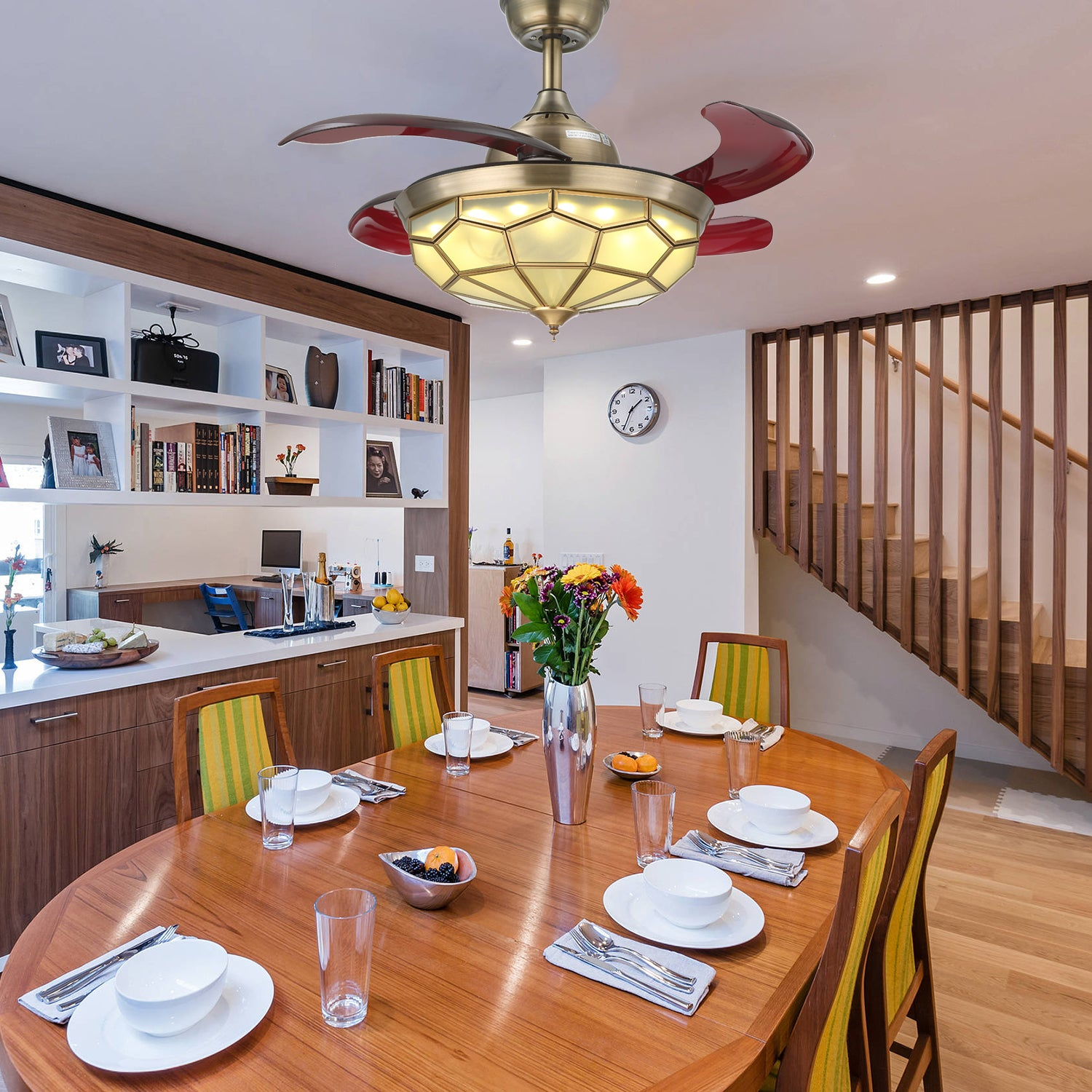 Delightful Invisible Ceiling Fan With Bronze Design   Dining Room