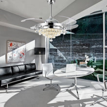 Modern Crystal Retractable Ceiling Fan - Office