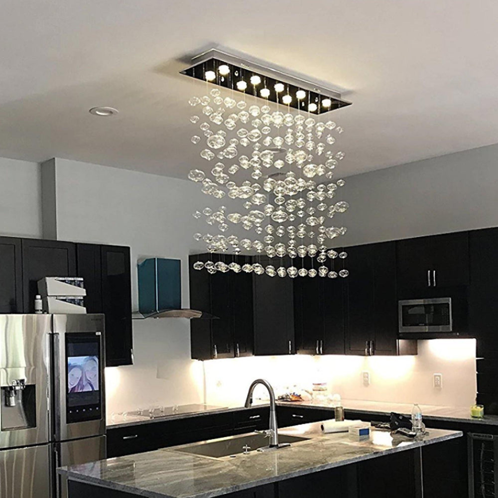 Rectangular Base Bubble Glass Chandelier - Ceiling Lights - Kitchen Island