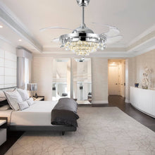Modern Crystal Retractable Ceiling Fan - Bedroom
