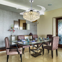 Modern Design Crystal Retractable Ceiling Fan - Dining Room