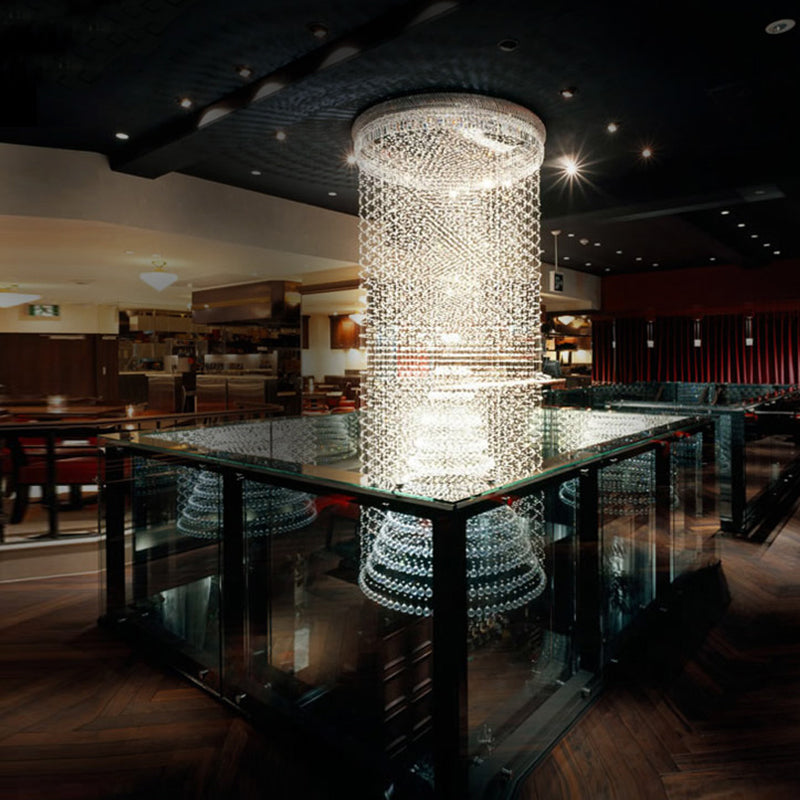 Contemporary Luxury Round Design Raindrop Crystal Chandelier
