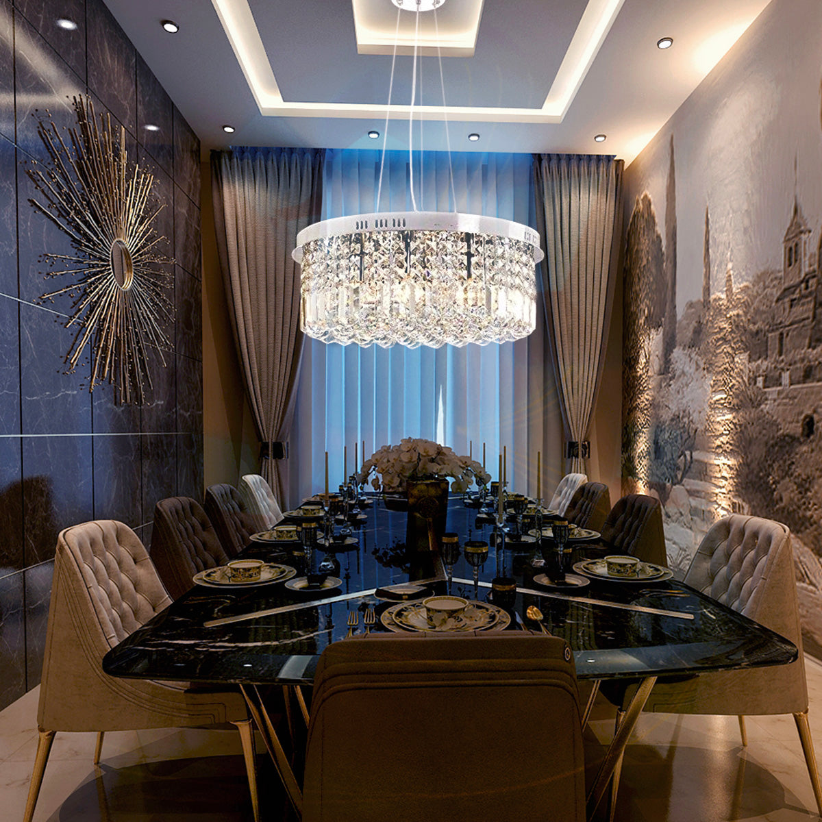 Glass Chandeliers For Dining Room: Modern Round Drum Crystal Chandelier
