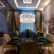 Modern Round Drum Crystal Chandelier - Dining room