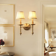 Wall Lamp Brass Finish With Double Shades At Living Room