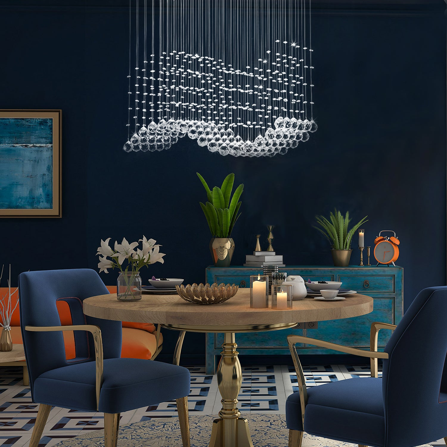 Rectangle Raindrop Wave Crystal Chandelier Ceiling Light Dining Room